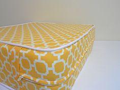 Outdoor indoor floor pillow-  yellow white floor pouf - square ottoman - trellis pattern  - 21 x 21 x 6 inch -. $95.00, via Etsy.