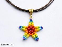Beaded star pattern - Звездочка из бисера / Кулоны и подвески / Biserok.org