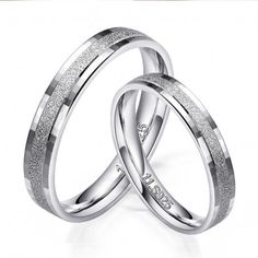 $49.95-Dull Polish Sand Blast 925 Sterling Silver Rings For Couple - USD $49.95