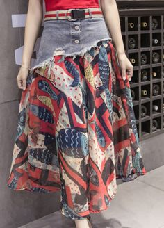 Denim-Waist Spliced Fish-Print Chiffon Long Skirt Source by linaautomnblack outfits Midi Rock Outfit, Midi Skirt Outfit, Pencil Skirt Outfits, Skirt Outfits Modest, Dressy Dresses, Long Chiffon Skirt, Patron Vintage, How To Make Skirt, Denim Ideas
