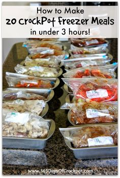 20 crockpot freezer meals made in 2 1/2 hours. This is perfect for a busy parent. Make 20 meals on a Saturday and have enough meals for ev...
