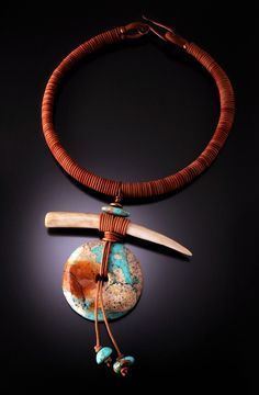 Chris Carlson. 'Zen'    Turquoise, antler and leather. Contemporary designs with a primitive spirit.