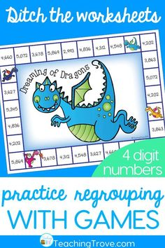 Four digit subtraction with regrouping can be so much fun with games. Perfect for centers and small groups, your 2nd grade and students are going to love practicing subtraction with regrouping with these subtraction games. #fourdigitregrouping #subtractionregrouping