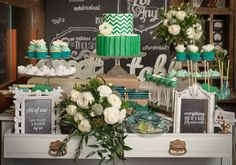 chevron wedding theme | in this gorgeous emerald green and chevron dessert table. The theme ...