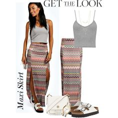 Laura Zig Zag Double Split Maxi Skirt  Boohoo.com
