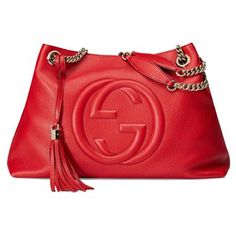 Gucci Soho Leather Chain Shoulder Handbag Red from Real Deal Style at SHOP.COM