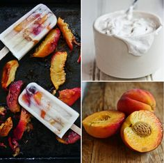 Roasted Peaches and Coconut Cream Popsicles  2 peaches   Squeeze of lemon and pinch of salt   1 can (14oz) Coconut Milk (light or full fat)   1 tsp Vanilla Extract