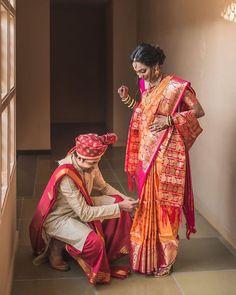 Heart-Warming Maharashtrian Couple Shots That We Loved! Indian Wedding Couple Photography, Wedding Couple Poses, Wedding Photography Poses, Wedding Couples, Cute Couples, Wedding Ideas, Couple Shots, Couple Posing, Perfect Couple