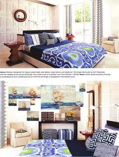 Richard Mishaan's holiday retreat featured in Architectural Digest www. Snorkel Blue, Grey Duvet, Modern Bohemian, Architectural Digest, Beautiful Bedrooms, Elle Decor, Luxury Bedding, Ikat, Color Inspiration
