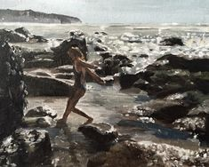 Girl Painting Beach Art Sea PRINT Girl on Rocks by the Sea Art Print - from original painting by J Coates Original Oil Painting or Print by JamesCoatesFineArt Cow Painting, Painting Of Girl, Canvas Art Prints, Canvas Wall Art, Cow Art, Rustic Art, Beach Print, People Art, Pictures To Paint