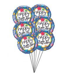 PinkishBalloonssayingHappyBirthday6 Mylar Balloons BalloonsDelivery