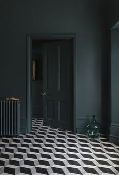 Ad // Do you have floor tiles in your home? I get so tempted when I see geometric tiles like these from - aren't they fabulous? I couldn't resist. Decor Interior Design, Interior Decorating, Decorating Tips, Decorating Websites, Interior Walls, Dark Green Walls, Dark Blue Bedroom Walls, Dark Green Living Room, Dark Bedrooms