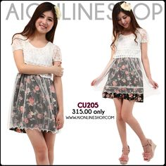 Embroidered & Lce Detail Chiffon Dress - P315.00 only!! Find this and more at http://aionlineshop.com/ <3