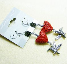 Red Heart Earrings  Red Textured Hearts by JewelryArtistry on Etsy