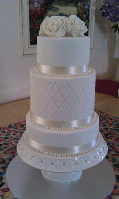 Double Barrel Wedding Cake Cake Cookies, Cupcake Cakes, Cupcakes, Double Barrel Cake, Fondant, White Wedding Cakes, Just Cakes, Edible Cake, Sweet Cakes