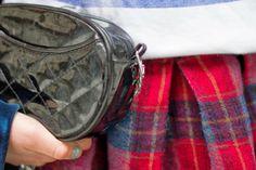 Blue  Tartan | FASHION IS MY RELIGION | photo Alex C.D. photography | #red #tartan #skirt #black #vintage #bag