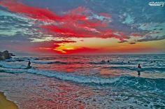 Beautiful sunset at kala beach algeria