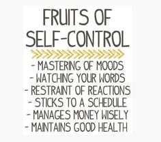 Fruits of self-control