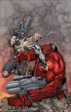 Avengers: X-Sanction (Cable vs Red Hulk) Cover by Ian Churchill Cable Marvel, Hq Marvel, Marvel Comics Art, Marvel Heroes, Comic Book Characters, Marvel Characters, Comic Character, Marvel Universe, Jean Grey