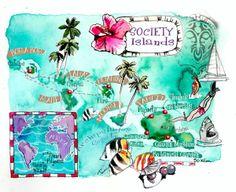 Society Islands map Tahiti ,Bora Bora ,Moorea etc by Eleni Tsakmaki