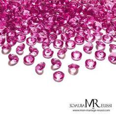 Confettis de table fuchsia : diamants par 100, perles
