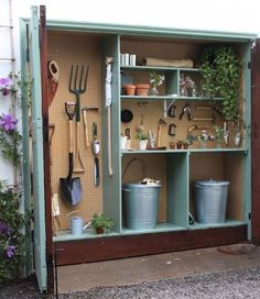 Do you have 18 inches of extra space in your garage? Get your measuring tape and check, because I am telling you this mini garden shed has changed my life. Here's how to make your own: shed design shed diy shed ideas shed organization shed plans Garden Shed Diy, Garden Storage Shed, Storage Shed Plans, Diy Shed, Garden Tools, Small Garden Storage Ideas, Tiny Shed Ideas, Small Garden With Shed, New Build Garden Ideas