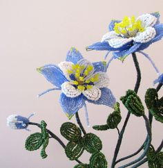 French Beaded Flower Columbine Blue | eBay