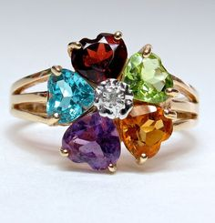 14k Multi-Gemstone & Diamond Ring for those who love colour from divinefind on Ruby Lane