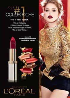 L`oreal Color Riche Mask Makeup, Makeup Ads, Makeup Poster, Doutzen Kroes, L'oréal Paris, Vintage Advertisements, Loreal, Hair Beauty, Lipstick