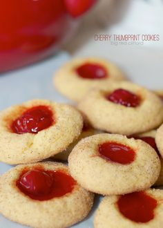 cherry {cobbler} thumbprint cookies. taste like a bite of cobbler and only 5 ingredients that you probably have! #christmas #blogherholidays #recipe bigredclifford.com