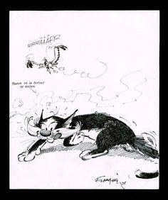 Dessin d'André Franquin, titré Chat et mouette rieuse, datant de 1985. «Le chat voleur de Gaston existe, devait un jour confier Franquin à un journaliste: Il a neuf ans et il vit chez moi. C'est une vaillante crapule noire et blanche, très maligne.» Feutre sur papier. Estimation: entre 1.000 et 1.500 euros.