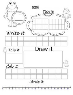 Pick a number 1-20. Practice dotting it, writing it, tally it, draw a picture adding to that number, color in the correct squares, and circle it on a number line.    ** Also check out All about numbers 1-10: Number Talks at  https://www.teacherspayteachers.com/Product/All-about-numbers-1-10-Number-Talks-1380564    ** And All about numbers 1-10: Number talks insects at   https://www.teacherspayteachers.com/Product/All-about-numbers-1-10-Number-talks-insects-1916473   Great for kindergarten…
