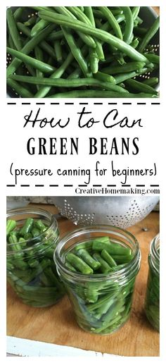 Gardening For Beginners Canning green beans. How to can green beans from the garden. Step by step pressure canning for beginners. - Canning green beans. How to can green beans from the garden. Step by step pressure canning for beginners. Pressure Canning Green Beans, Preserving Green Beans, Canning Beans, Cooking Green Beans, Preserving Food, Freezing Green Beans, Canning Soup Recipes, Pressure Canning Recipes, Canning Tips