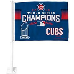 MLB Chicago Cubs World Series Champs Car Flag  http://allstarsportsfan.com/product/mlb-chicago-cubs-world-series-champs-car-flag/  2016 world series championship and team graphics Sturdy 19-inch pole Graphics featured on both sides