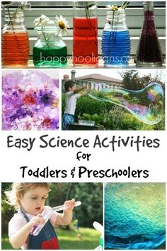 20 Science Activities for Toddlers and Preschoolers - easy, fun and educational activities for kids. This is perfect for summer boredom busters or kids learning fun and play with STEM at home or in the classroom. Science Activities For Toddlers, Preschool Science, Science Experiments Kids, Preschool Learning, Science For Kids, Science Projects, Toddler Preschool, Educational Activities, Fun Learning