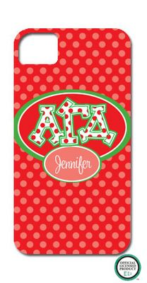 Alpha Gamma Delta Letters on Dots Cell Phone Case! So cute!