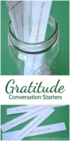 Gratitude Conversation Starters for Families - Creative Family Fun - Printable gratitude conversation starters for Thanksgiving and Christmas to help… - Gratitude Challenge, Gratitude Ideas, Gratitude Jar, Gratitude Quotes, Deep Relationship Quotes, Thanksgiving Crafts, Family Thanksgiving, Thanksgiving Parties, Thanksgiving Games For Adults