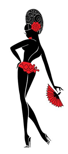 ♥ Burlesque dancer in silhouette ♥ Original Art by Claudette Barjoud, a.k.a Miss Fluff. www.missfluff.com