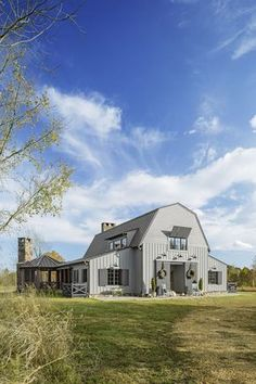 barn-inspired home with three bedrooms, two bathrooms, and an open floor plan fit for hosting a crowd. Pinning this to our 'Dream House' board ASAP. Barn Homes Floor Plans, Metal Barn Homes, Barndominium Floor Plans, Pole Barn House Plans, Pole Barn Homes, Barn Home Plans, Rustic Barn Homes, Barn Style House Plans, Barn Style Houses
