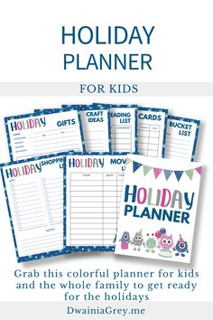 Keep your family organized by planning your family's holiday activities. This colorful planner for kids and the whole family to use to plan your holiday season. Buy Now! #holidayplanner Summer Planner, Kids Planner, Holiday Planner, Diy Holiday Gifts, Holiday Wishes, Holiday Crafts, Diy Gifts, Holiday Activities, Summer Activities