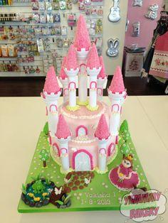 Castle cake pink princess frog