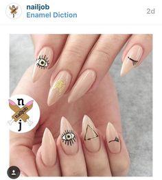 One Step Gel Polish UV Led Cured Required Soak Off Nail Polish stiletto nail art designs Cute Nails, Pretty Nails, My Nails, Minimalist Nails, Evil Eye Nails, Nail Polish, Nail Nail, Nagellack Trends, Stiletto Nail Art
