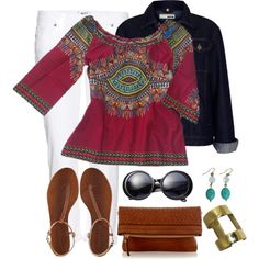 African dashiki print top and cool brass handmade jewellery (sapelle.com) look great with your classic white and dark denim. We love this look!