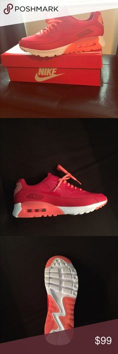 Women's Air Max 90 Ultra Essential BRAND NEW! Bright Red and Orange Shoe - NEVER WORN Nike Shoes Athletic Shoes