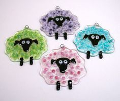 Sheep with attitude!  Fused Glass Suncatcher/Ornament (Sheep in Green). $12.00, via Etsy.