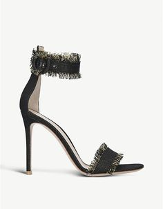 Gianvito Rossi Lola frayed fabric sandaks Crazy Shoes, Evening Dresses, Footwear, Sandals, Heels, Fabric, Style, Fashion, Evening Gowns Dresses