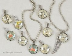 My Repurposed Life {guest post from My Salvaged Treasures} pendants made from flat back marbles