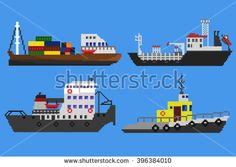 Set of industrial cargo ships and boats. Pixel art vector illustration - stock…