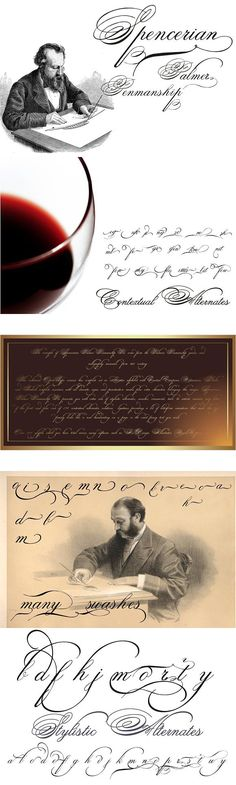 The concepts of Spencerian Palmer Penmanship PRO come from the Palmer's Penmanship guides and calligraphy manuals from XIX century. Improve Handwriting, Cursive Handwriting, Penmanship, Handwriting Ideas, Handwriting Recognition, Handwriting Analysis, Hand Lettering Alphabet, Letter Form, Fancy Fonts