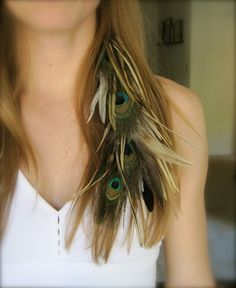 Feather hair extension peacock